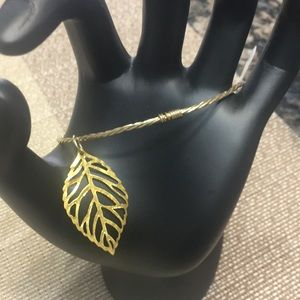 Jewelry - Gold toned leaf charm bangle bracelets set of 2